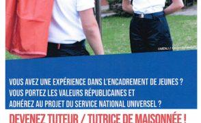 Recrutement des tuteurs/tutrices de maisonnées pour le séjour de cohésion Service National Universel (SNU) Oise.