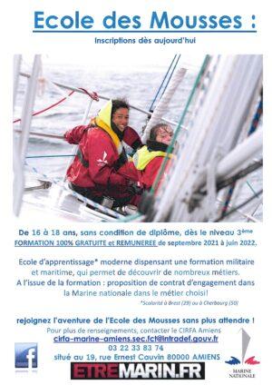 La Marine Nationale propose aux jeunes de 16 à 18 ans, sans condition de diplôme, dès le niveau 3ème, une formation 100% gratuite et rémunérée de septembre 2021 à juin 2022.